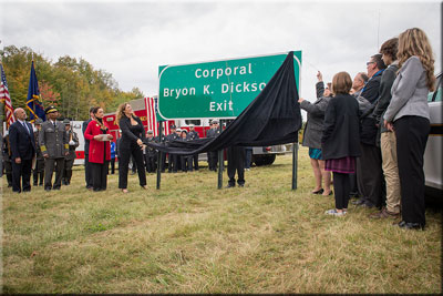 Corporal Dickson Exit Sign Unveiling