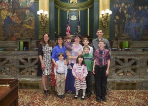 The Parry family, from Exeter Township, was among those making the trip and met with Sen. Baker on the Senate floor. They include Rebekka  and Dan Parry, Rebekka's mom Sharon Guyer and the Parry's six children: Noah, Daniel, John, Abigail, Thomas and Ben.